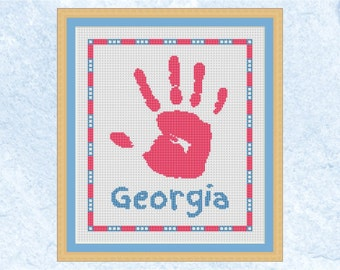 Child's handprint cross stitch pattern, custom baby footprint counted cross stitch chart, personalised name, child keepsake, printable PDF