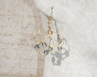 Wire and Silver Balls Earrings