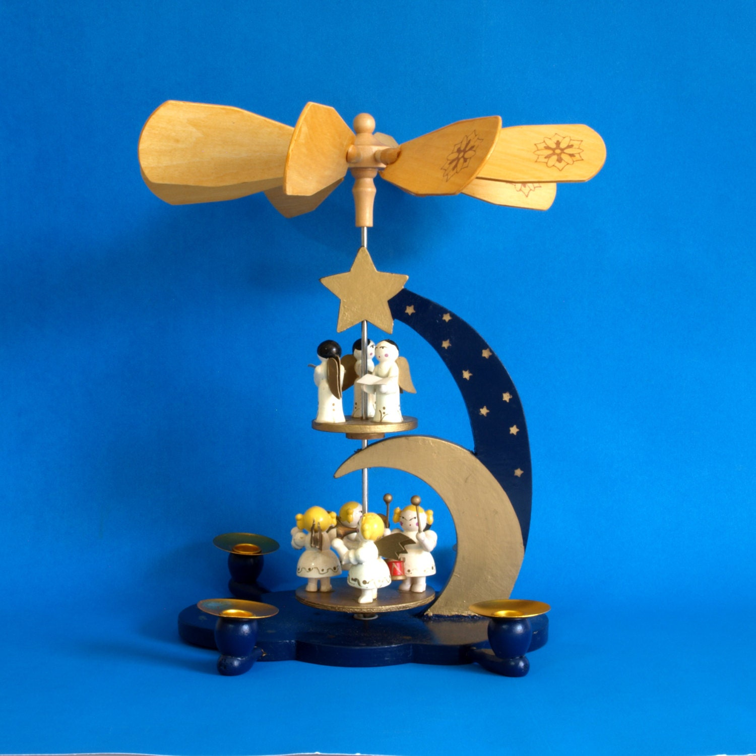 vintage weihnachts pyramide two tier german nativity carousel. Black Bedroom Furniture Sets. Home Design Ideas