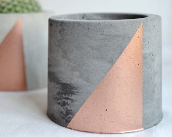 Copper painted mini Concrete Planter