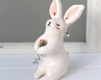 Bunny Rabbit Ring Holder/Cake Topper Handmade Earthenware Clay Totem Keepsake - Housewarming, Birthday, Baby Shower Gift