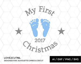 My first Christmas Christmas ornament SVG cut file for silhouette or other craft cutting machine ( .ai .svg .dxf .png  )