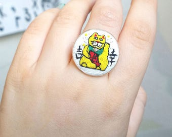 Embroidery Cat Ring - Maneki neko - Lucky cat embroidery, Japanese Cat ring