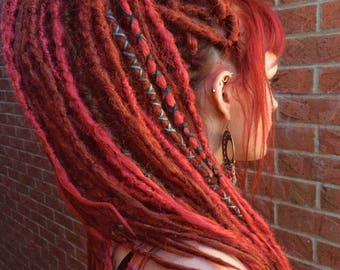 Synthetic Crocheted Dreadlock Extensions | Red | Single and Double Ended