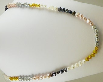 """Freshwater Multi Color Pearl Necklace 46"""" Long"""