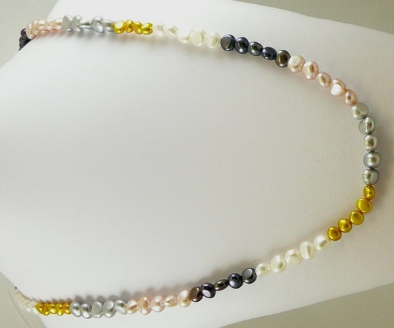 "Freshwater Multi Color Pearl Necklace 46"" Long"