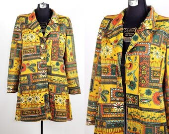 Vintage 1960s 70s Flower Power Blazer *AS IS* / large xlarge