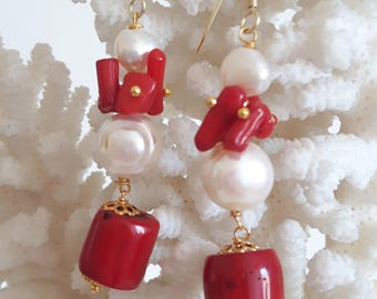 White Baroque pearl earrings, coral red and silver