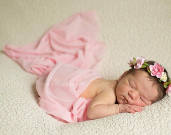 Pink Stretch Wrap or Posing / Swaddle / Layering Blanket for Newborn Photography 46X150 cmSwaddle Wrap