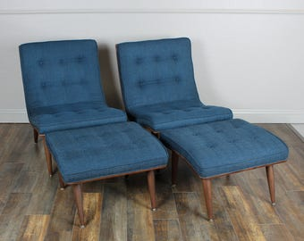 A Pair Of Vintage Mid Century Carter Brother Scoop Chairs W/ottomans