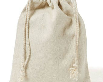 "3"" x 5"" Cotton Muslin Drawstring Pouches//Fabric Pouch//Unbleached"