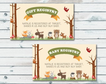 baby registry cards registry inserts woodland baby shower gift registry inserts baby shower