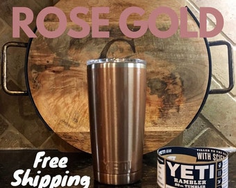 20oz Rose Gold Yeti with Bay-Lee (girly font)