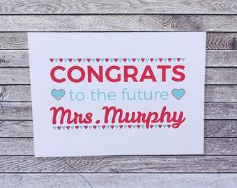 Personalized Wedding Bridal Shower Card Custom