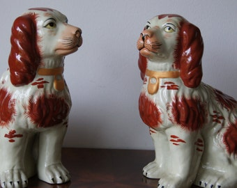 Antique Big Staffordshire dogs circa 1920's vintage pottery dogs Open Foot