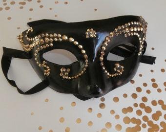 Black Mask with Gold Rhinestones