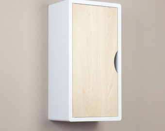White Floating Cabinet, Wall Shelf with Solid Hard Wood Door