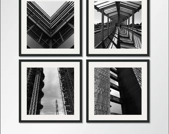 The Architecture Collection: Set of four square architectural prints, Architecture Photography, Black And White Photography, Unframed