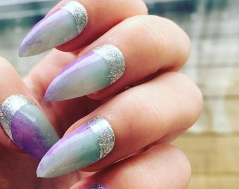 Pastel Mint and Purple Ombre False Nails with Silver Glitter Detail, Set of 20 Stunning Fake Nails