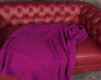 Purple Blanket Cable Knit Blanket