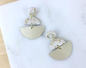 Dangle earrings, leather earrings, long earrings, half circle geometric earrings,polymer clay jewelry, statement earrings