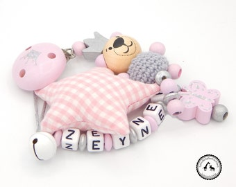 Dummy named - crochet bear/bells/fabric star/Butterfly / Crown in Pink / Silver - new