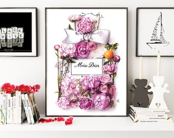 Miss Dior, fashion illustration, perfume, fashion print, fashion art, art print, floral illustration, botanical illustration, watercolor