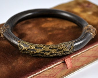 Japanese rattan bangle with brass wire work