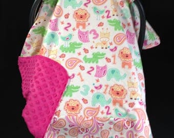 Car Seat Canopy/ Car Seat Cover/ Jungle Animals/ Pink/ Orange/ Blue/ Green