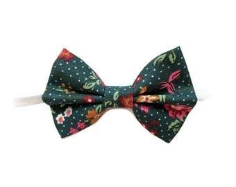 Dark green floral bow tie for bunnies, pet rabbit bow tie, pet bunny bow tie, pet bow tie, pet rabbit clothes, pet rabbit accessories