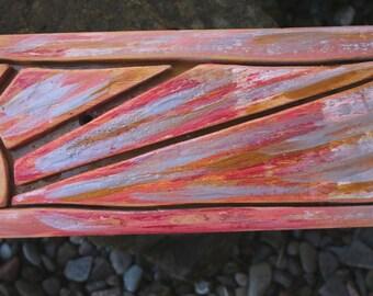 Solway Coast setting sun reclaimed wood wall art