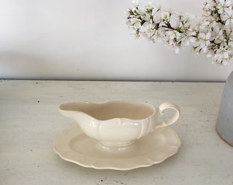 Vintage French ironstone sauce boat