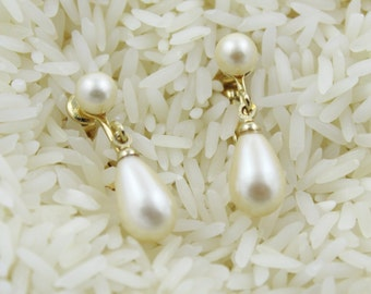 Vintage Faux Pearl Clip on earrings - EA453