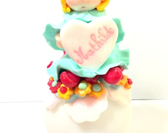 Made hand/night light/led/child/ball room/idea gift/green light/figurine/fimo/personalized/customizable/Pixie/decoration