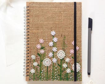 rustic floral notebook wedding journal floral planner wedding gift handmade lace wedding