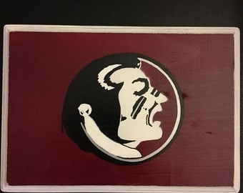 FSU hand drawn and hand painted wood wall hanging