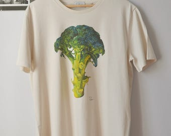 Printed broccoli tee from an original artist's painting