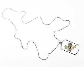 California Map Vintage Style San Francisco Los Angeles, Dog Tag Necklace, Dog Tags Personalized, Gift Idea, Silver Chain, DN063