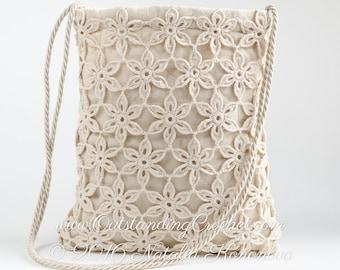 Free Crochet Bag Pattern - Shoulder Messenger Tote Bag - PDF instant download