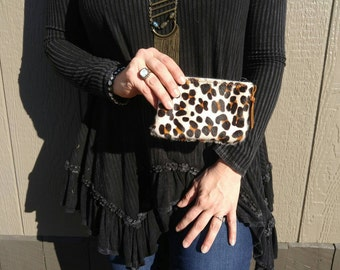 Adorable little coin purse in leopard print cowhide!!!