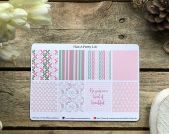 Planner Stickers - February, Full Boxes Patterns, Erin Condren Vertical Hourly, Spring, Green, Pink, Blush, Sticker, Happy Planner, Quote