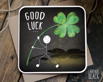 Good Luck Card / Exam Good Luck / Four leaf clover / New job / SM42