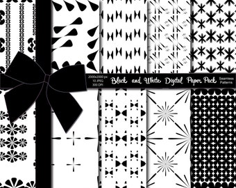 70% OFF SALE Black and White Digital Paper Pack, Digital Papers, Black & White Paper Pack, Instant Download Printable, 10 Unique Designs