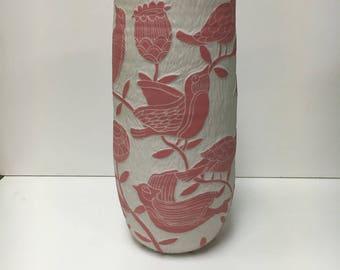 """Pink Birds & Flower Vase 11"""""""