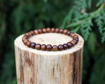 Robles wood bead bracelet, Wood Bead Bracelet, Natural Wood Beads, Bead Bracelet, Men's/Women's Bracelet, Handmade  Bracelet, Wooden Jewelry