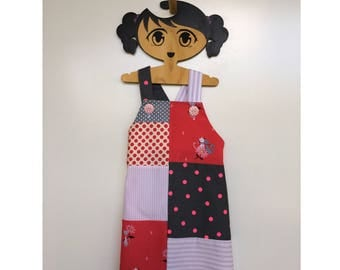 Maya Size 3, patchwork pinafore, girl's dress, vintage style, handmade, unique