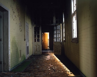 abandoned print, urban decay, horror style art, gothic photography, rustic wall art, light beam, asylum print, interior decor art, fine art
