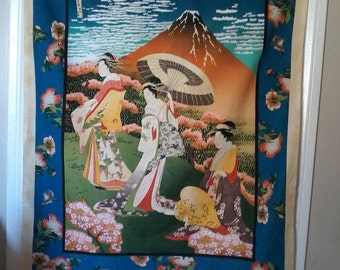 Oriental ladies wall hanging/table cloth
