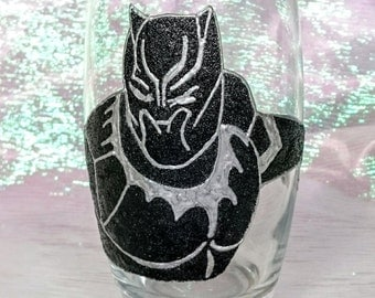 Hand Decorated Glitter Glass - Black Panther