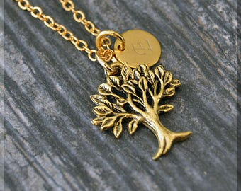 Gold Family Tree Charm Necklace, Initial Charm Necklace, Personalized Jewelry, Tree Pendant, Monogram Family Tree Charm Necklace